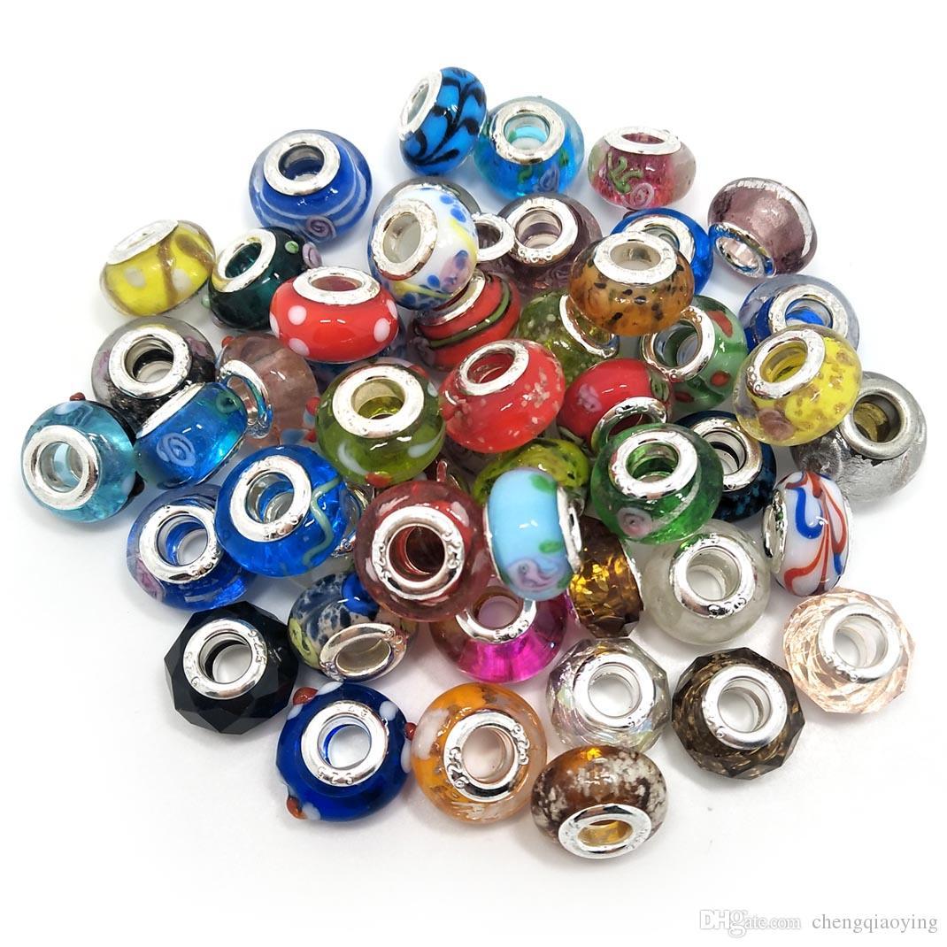 Gloednieuwe Mix Stijlen Glas 925 String Cord Big Hole Losse Kralen Fit Europese Pandora Sieraden DIY Armband Charms 50 Stks Per Lot