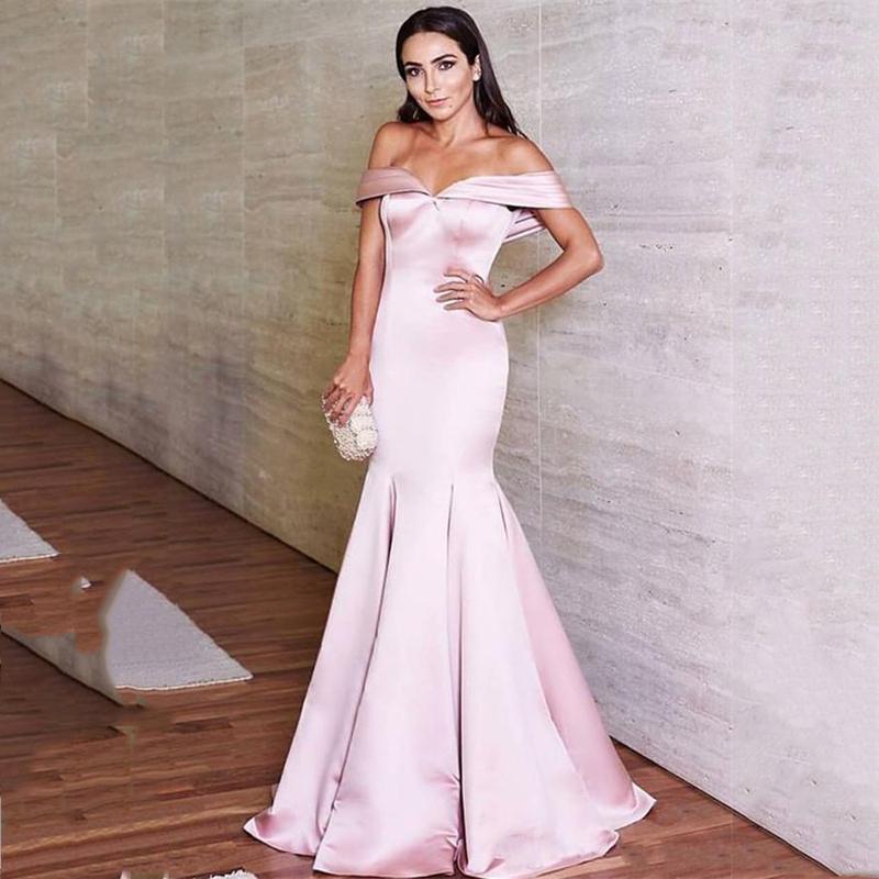 Пользовательские плеча розовый русалка Пром платья 2020 Поезд стреловидности Короткие рукава атласная Официальные вечерние платья партии