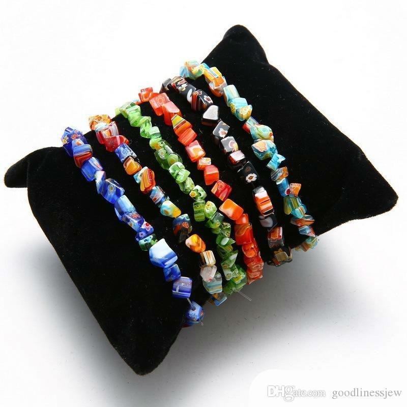 Pulsera brazalete de las pulseras del encanto de la piedra preciosa de cristal Abalorio Cristal de cuarzo de la viruta elástico pulsera brazalete