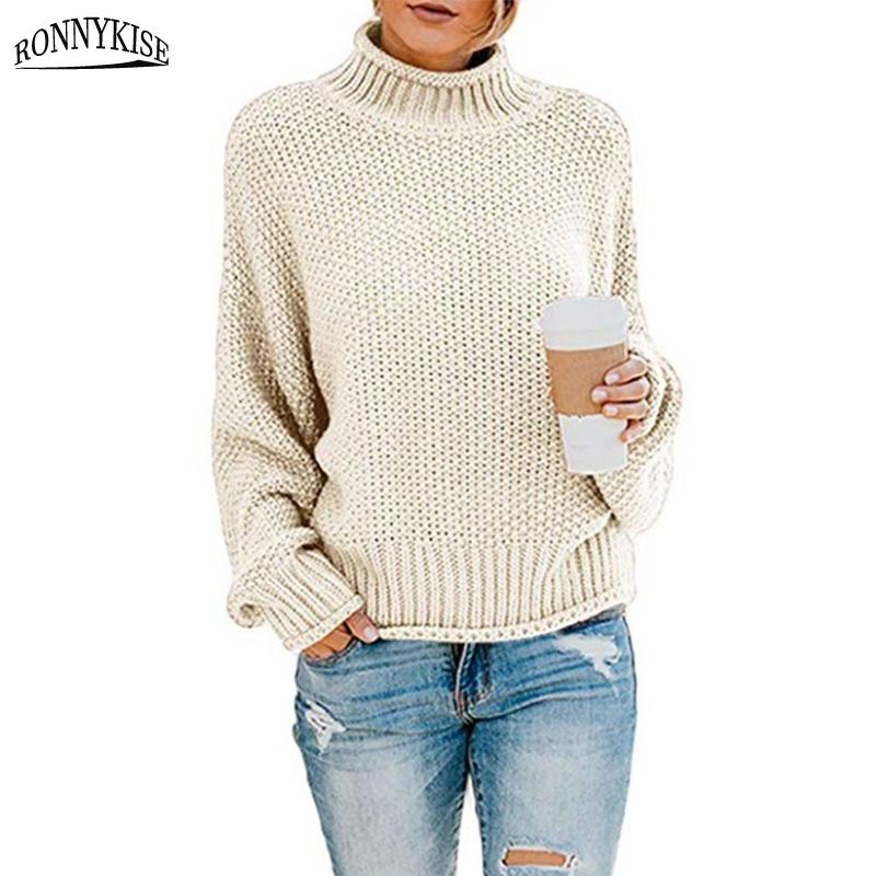 RONNYKISE Pulls Étoffes Femmes Mode manches longues O-cou solide Casual Pull Automne et Hiver perdre Pull overs Y200116