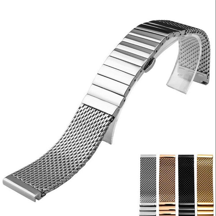 Milanese acier inoxydable Portofino ceinture maille solide sangle fermoir à double papillon poussoir 18/20/22 / 24mm