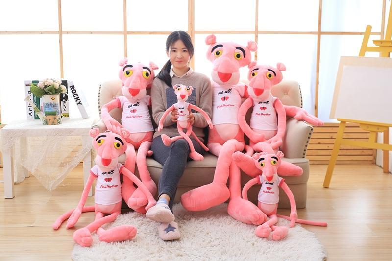 1pc 80cm Super Cute Stuffed Animal Shin Leopard Pink Panther T-shirt Plush Toy Doll birthday gift christmas present