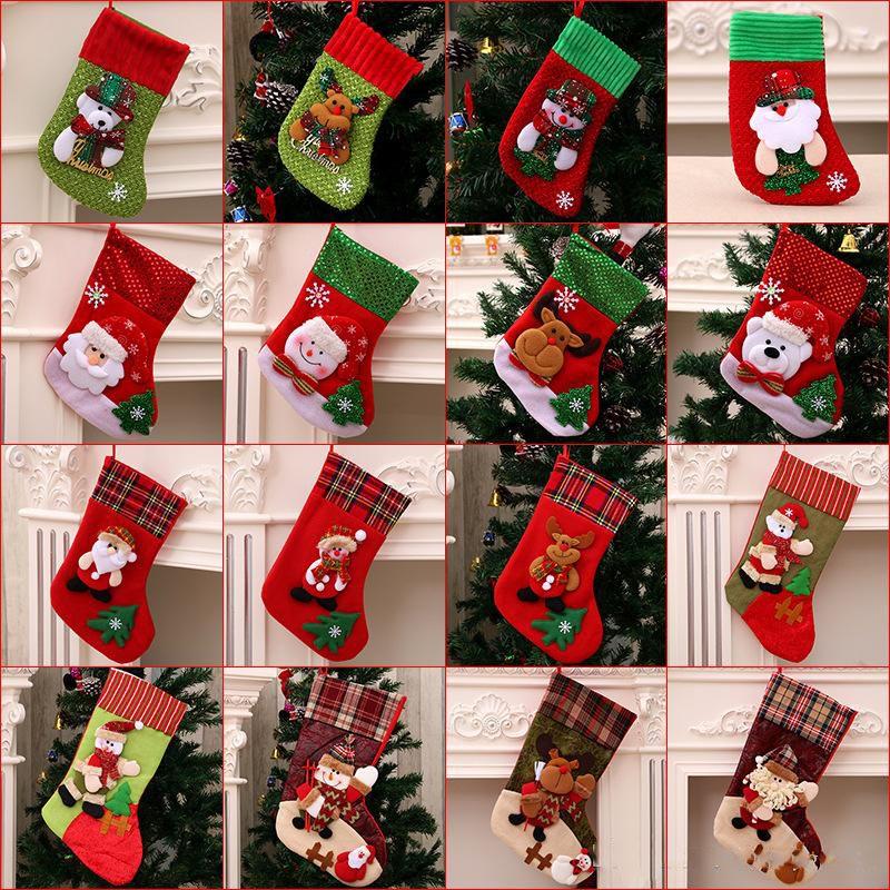 Bas Mini chaussette du Père Noël de sucrerie sac cadeau Arbre de Noël Hanging Pendentif Goutte Ornements Décorations pour la maison XD22449