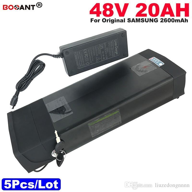 Commercio all'ingrosso 5pcs / lotto 48V 20AH batteria E-Bike per batteria originale Samsung 30B bicicletta elettrica batteria al litio 48V per motore 1000 W