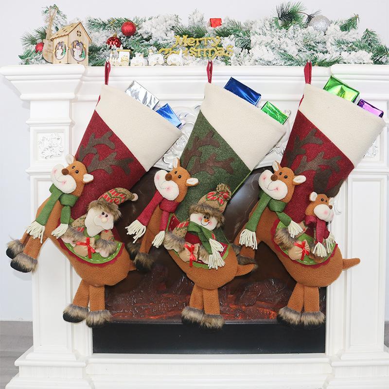 Holder Grande Calza della Befana Babbo Natale Calzino Regalo di Natale regalo decorazione dell'albero di Capodanno Candy Bags