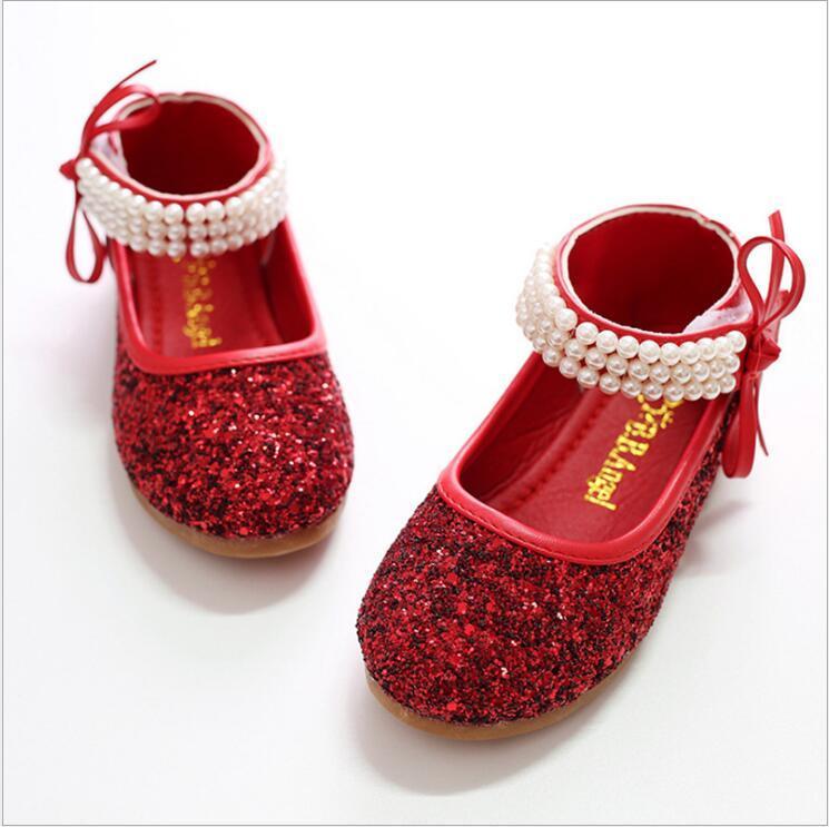2016 Bambini Principessa Glitter Sandali Bambini Ragazze Scarpe da sposa Tacchi quadrati Scarpe eleganti Scarpe da festa Rosso / Argento / Taglia 24 ~ 37