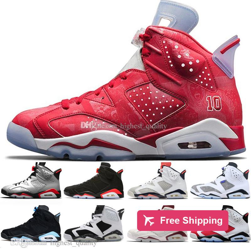 Drop Shipping 2019 Infrarouge Bred 6 6s Chaussures de basket-ball Hommes réfléchissant Tinker Flint Sport Bleu Blanc Ciment Carmine homme Sneakers Designer