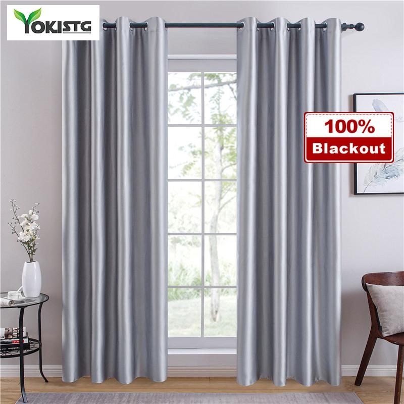 YokiSTG 100% moderno tende oscuranti Per Camera Soggiorno Finestra Treatment solido colori Silky damasco Blinds Finito tende