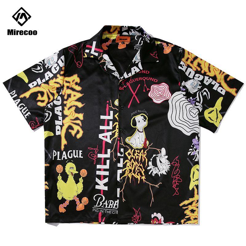 Beach 2020 Men Shirts Graffiti Print Men Harajuku Punk Rock Fashion Hip Hop Short Sleeve Mens Shirt Casual Streetwear Tops Tee