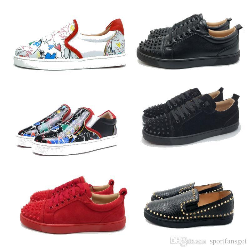 Красный низ шип обувь 2019 смешать зашнуровать дизайнерские туфли мокасины скольжения на коже замши роскошные повседневные туфли размер 35-46 с коробкой
