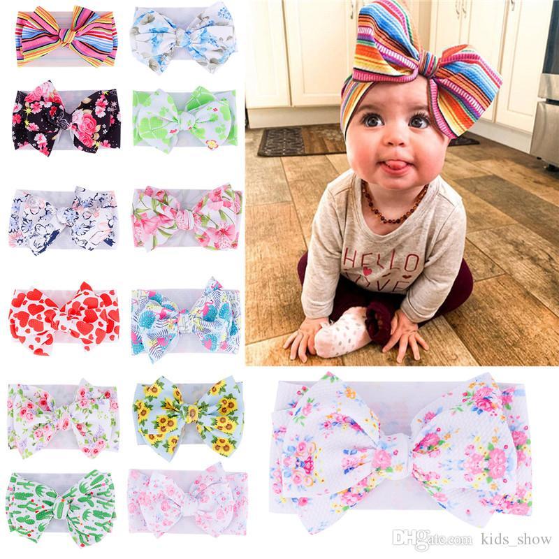 Toddler Elastic Bowknot Flower Headbands Baby Girl Soft Nylon Elastic Big Bow Hairband Infant DIY Hair Accessories