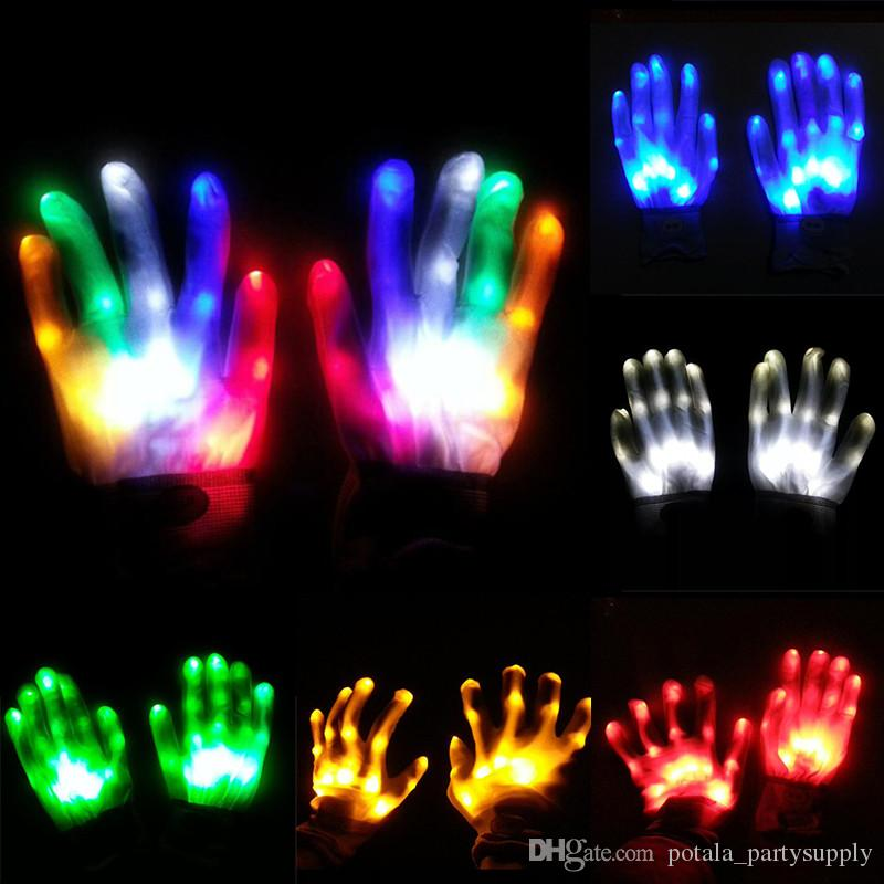 LED Flashing Gloves Glow Light Up Finger Lighting Halloween Party Light Props Luminous Skull Gloves Stage Costume Christmas Supplies for fun