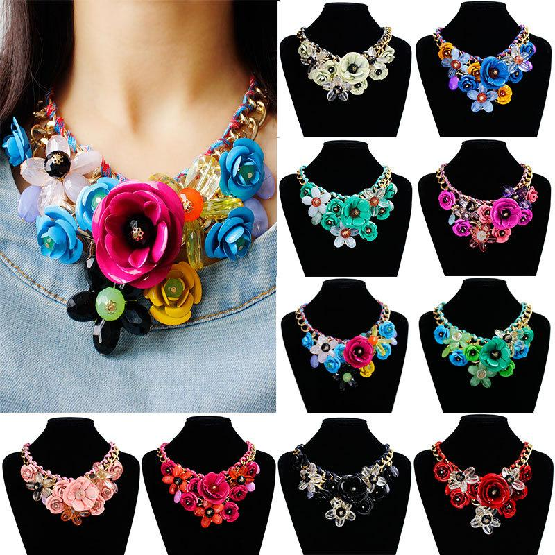 New product listing 10 various colors women beautiful elegant flowers pendant necklace wholesale custom-made Gemstone Necklace