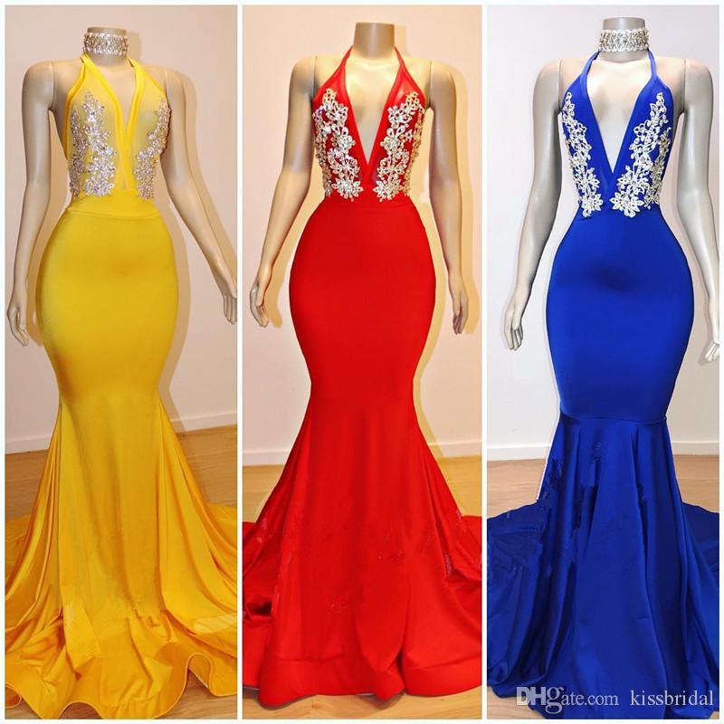 Bead Appliques Prom Dresses 2019 Mermaid Halter scollo a V aperto indietro abiti da sera Cocktail Party Dress abito formale in giallo rosso blu colore