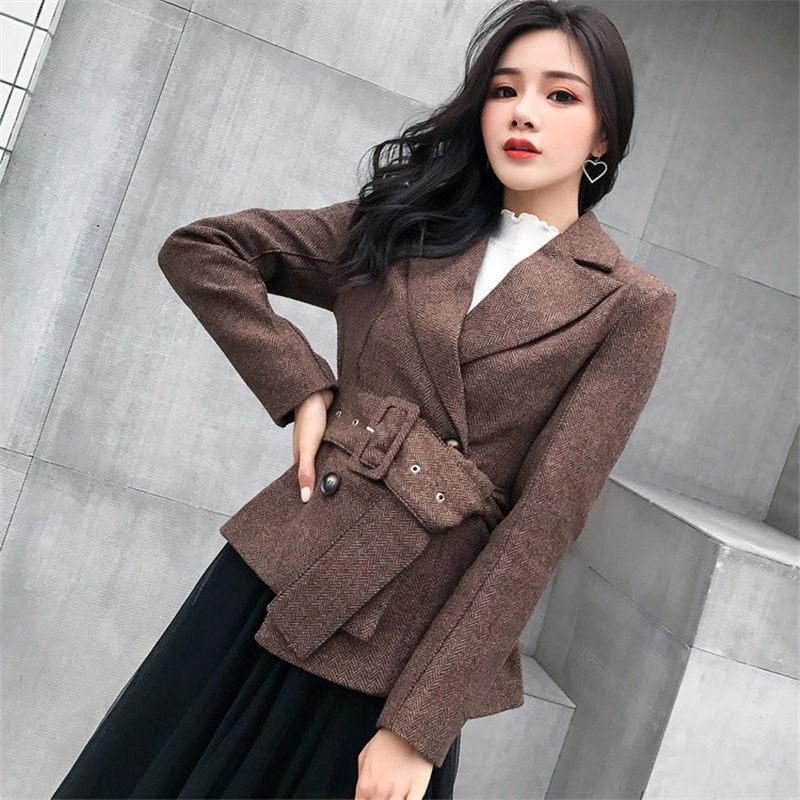 New Stripe Belted Office Lady Blazer Jacket Moda trespassado paletó elegante Wool Blazer Femme Outono Casacos f427