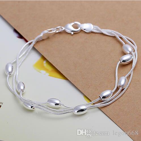 Pulsera de plata 925, joyería de moda de plata 925 Pulsera de tres líneas con bola de brillo GB655