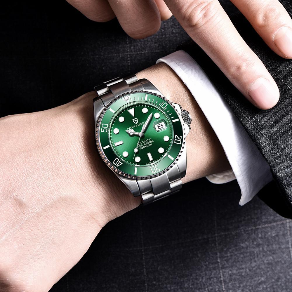 تصميم باجاني شبح المياه ريترو مضيئة الأيدي أزياء الماس العرض المعصم رجالي الساعات الميكانيكية الأعلى الساعة الذكور