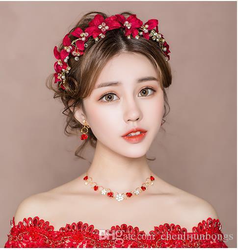 Bride's Headdress New Korean Mori Red Hair Ornament Fairy Hair Hoop Wedding Dress and Marriage Jewelry