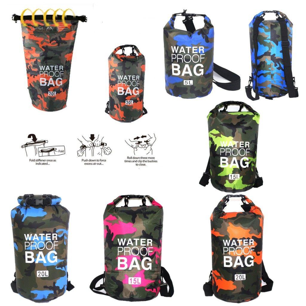 التمويه حقيبة مضادة للماء جاف الحقيبة دلو PVC للحقائب في الهواء الطلق قوارب الكاياك الانجراف العائمة السباحة ركوب الزوارق السفر كيت شاطئ تخزين المياه 2L-30L
