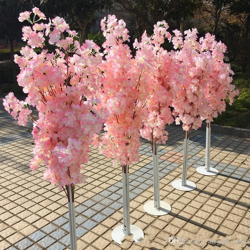 Colorful Artificial Cherry Blossom Tree Roman Column Road Leads Wedding Mall Opened Props Iron Art Flower Doors