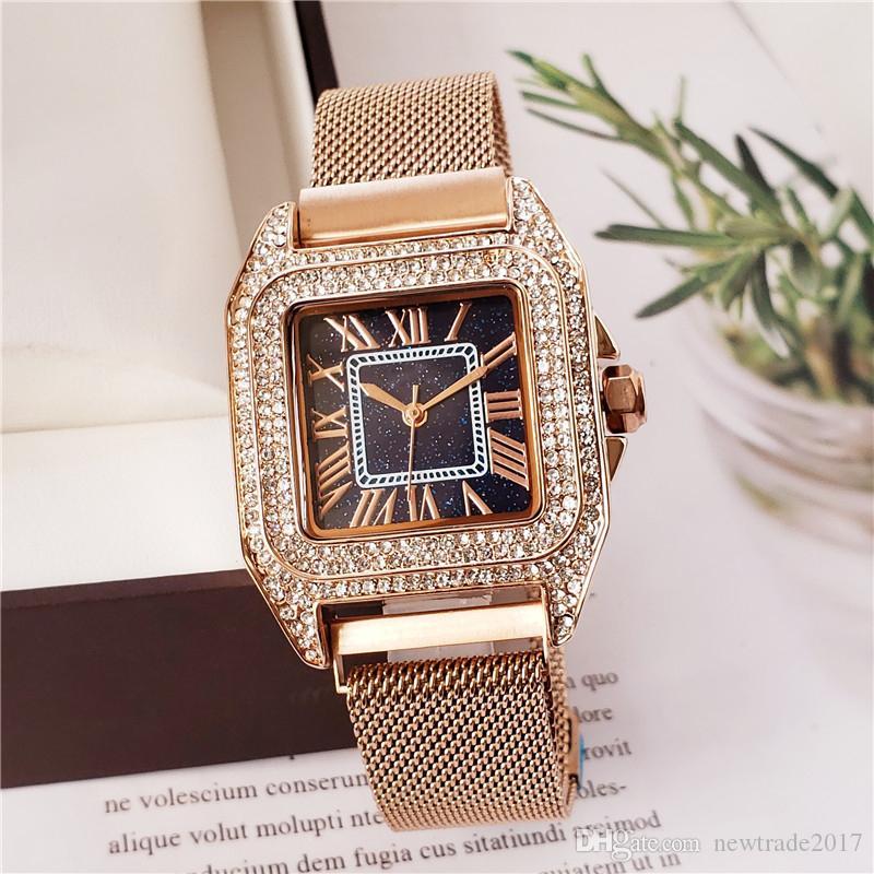 Mulheres de luxo da marca suíça relógios todos os diamantes 34mm caso de aço inoxidável panthere de relógio de quartzo designer de alta qualidade relógio de pulso à prova d 'água
