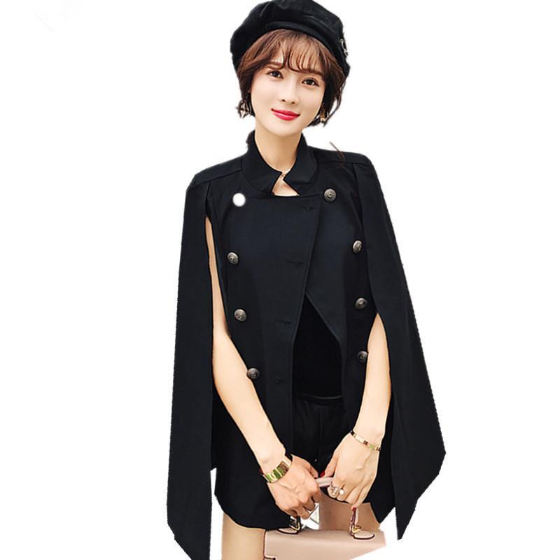 JSXDHK di alta qualità autunno inverno donne mantello trench coat 2018 pista nero doppiopetto poncho cope mantello scialle tuta sportiva
