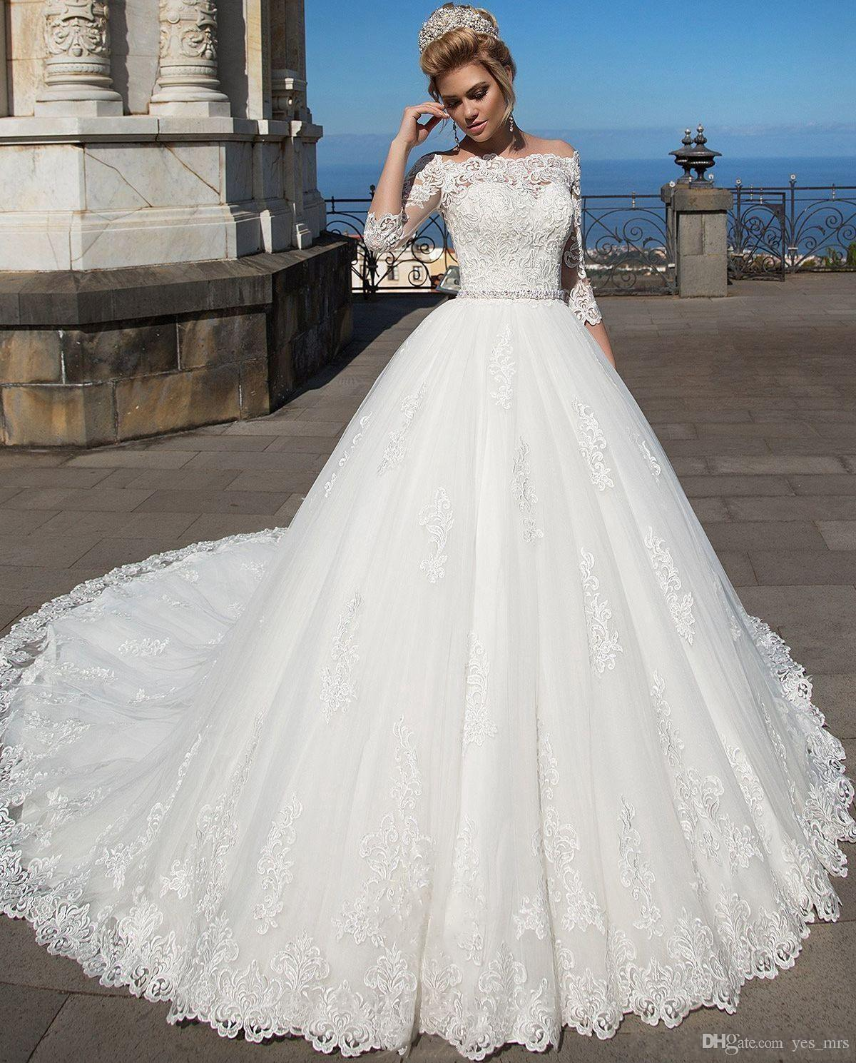2020 New Arabic Ball Gown Wedding Dresses Illusion Off Shoulder Lace Appliques 3/4 Long Sleeves Plus Size Court Train Formal Bridal Gowns
