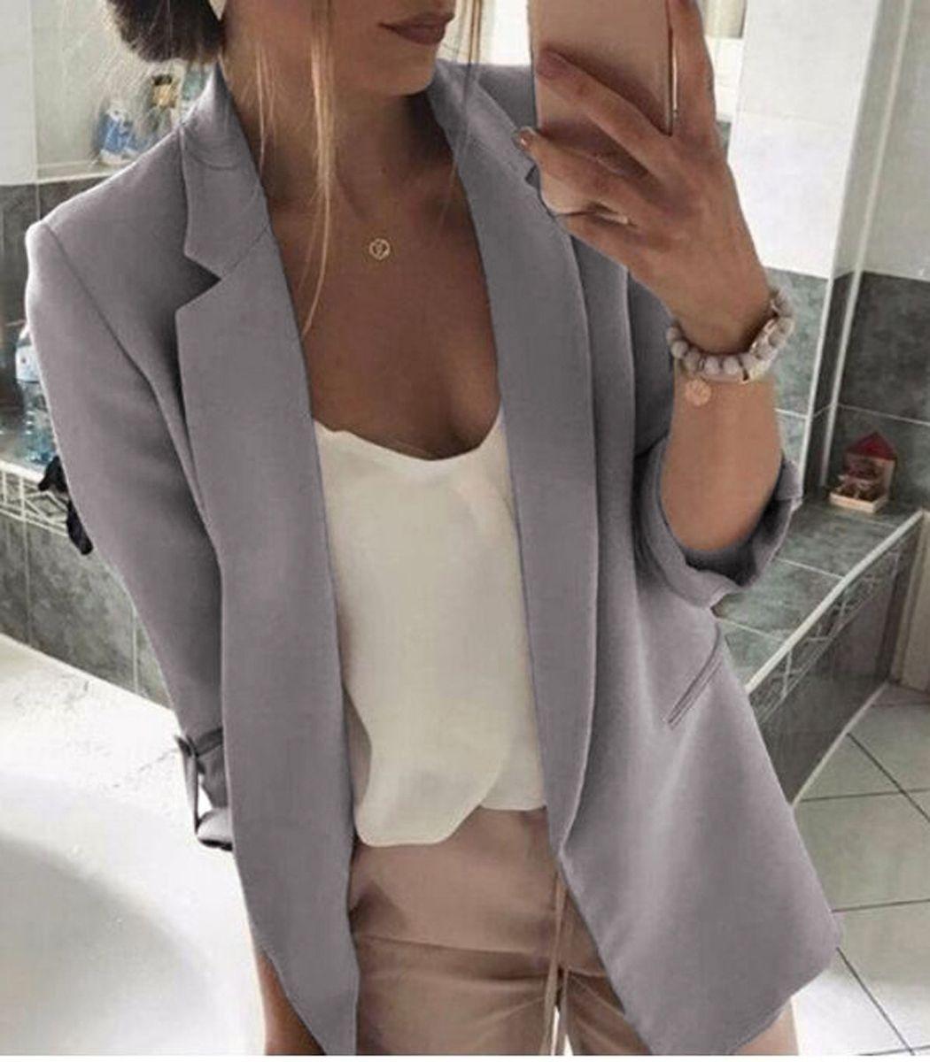 Giacca casual outwear da donna giacca sportiva a maniche lunghe slim slim da lavoro