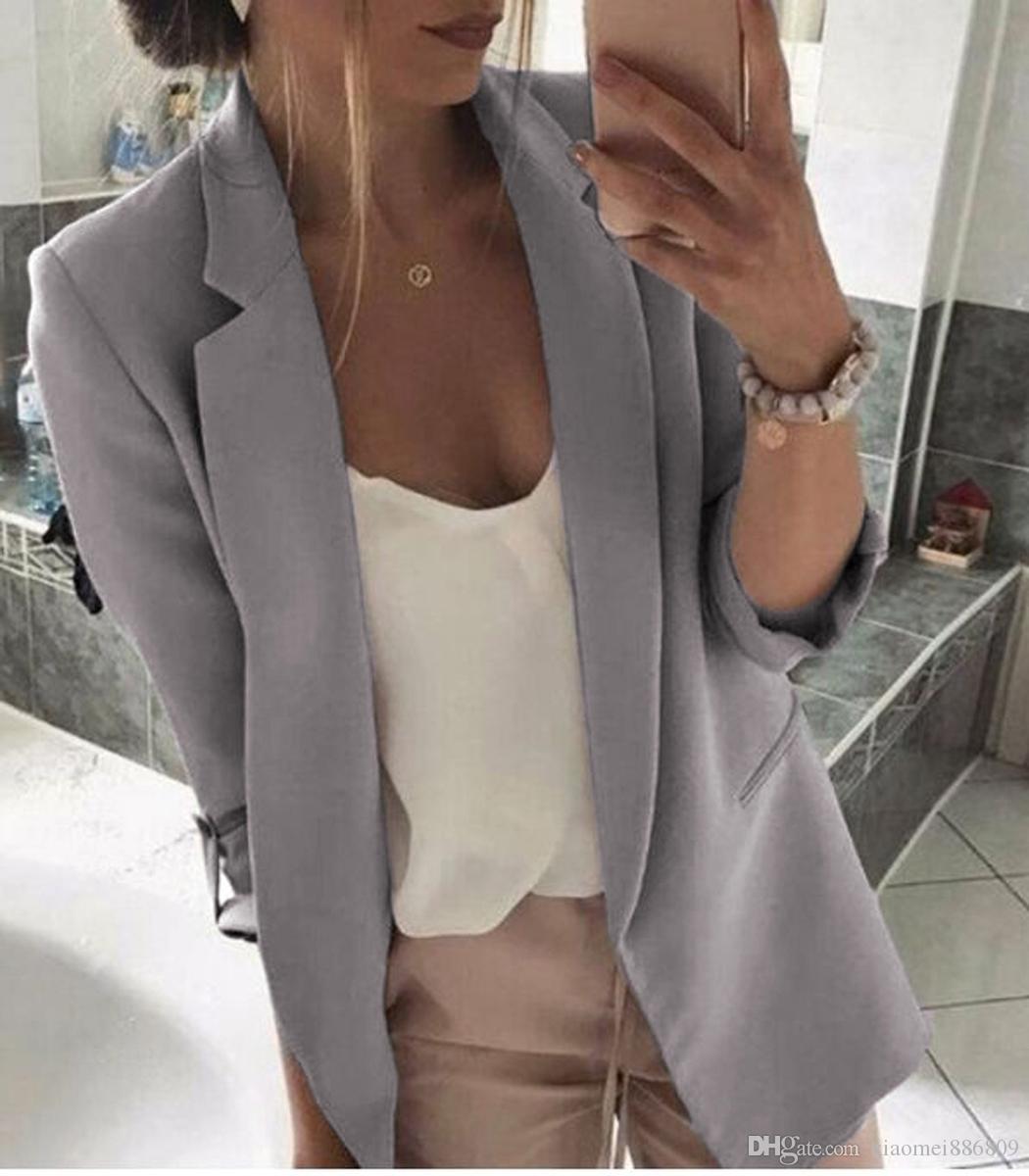 المرأة ريترو سليم لياقة كم طويل السترة معطف العمل عارضة أبلى سترات