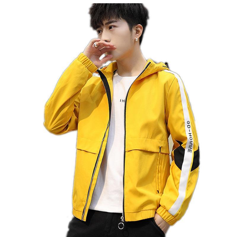 الرجال جاكيتات الرجال ربيع الخريف الذكور معاطف الملابس مقنعين سستة خليط إلكتروني جيوب عارضة رجل ملابس خارجية الملابس Y103