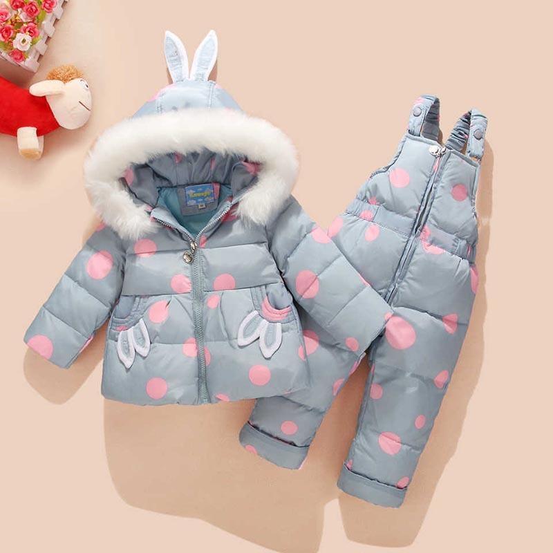 Kid Baby Boy Girl Winter Warm Down Jacket Cartoon 2 PCS Set Hoodied Coat+Pants