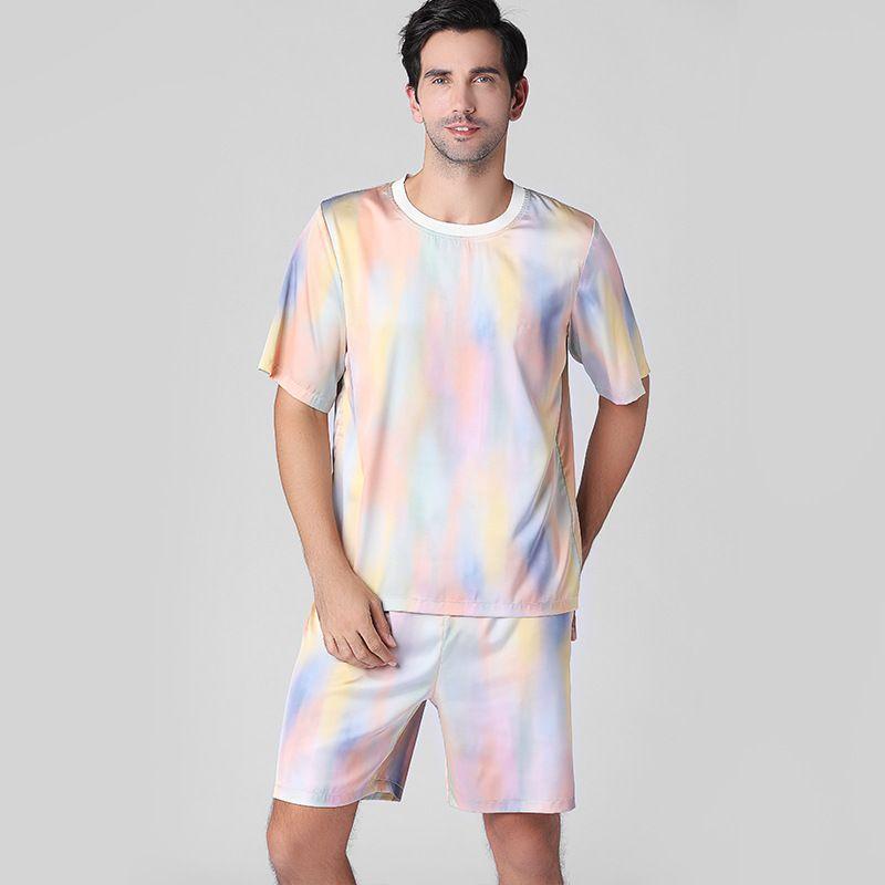 Thoshine Marca Men cetim de seda Pijamas conjuntos de T-shirt homens sleepwear sexy Shorts masculino Pijama Pijamas Lazer lar Roupa