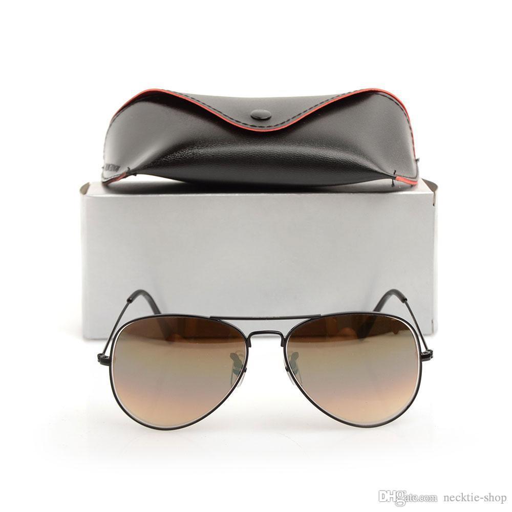 Новый бренд дизайнер солнцезащитные очки стеклянные линзы мужские женские солнцезащитные очки классический пилот очки градиент очки 58 мм объектив с оригинальными случаях