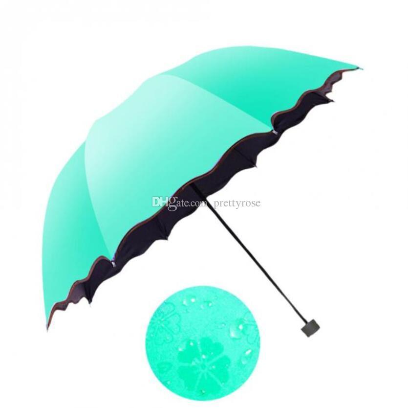 Semplice Moda Donna Ombrello Antivento Protezione solare Magic Flower Ombrello Cupola Ombrelli Pieghevoli a Pioggia Ultravioletti a Pioggia 6 Colori
