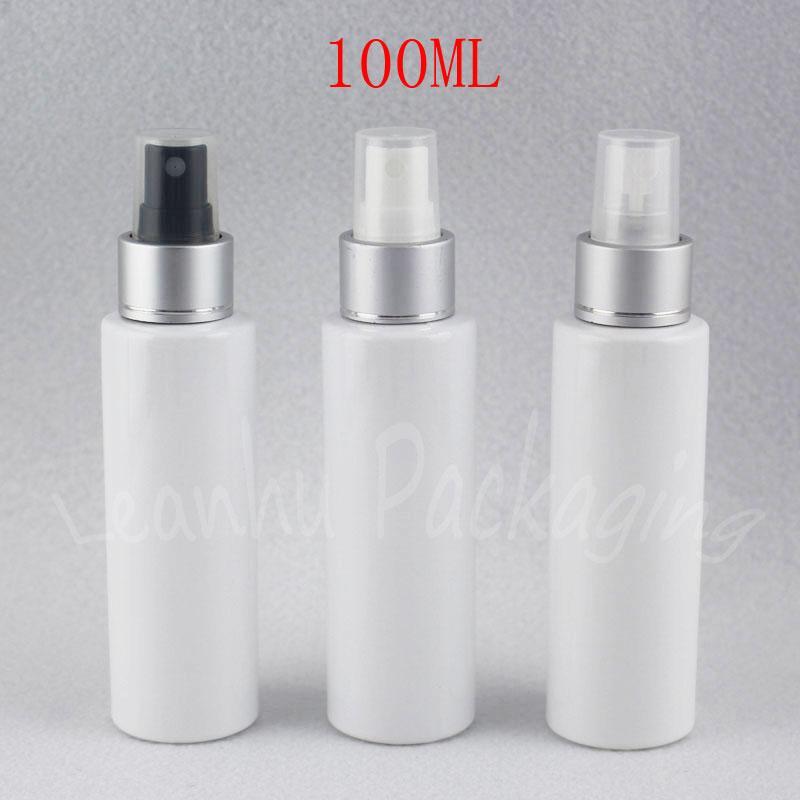 100ML Beyaz Düz Omuz Plastik Sprey Şişe, 100CC Kozmetik Kapsayıcı boşaltın, Su / Toner Alt şişeleme (50 PC / Lot)