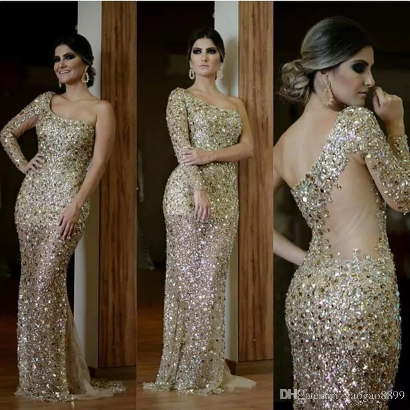 Luxury Champagne gold Arabic Mermaid Evening Dresses 2019 One Shoulder Long Sleeves Major Beading split Formal celebrity Prom Party gowns