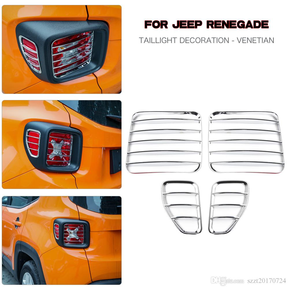Taillight Rear Lamp Cover Guard Protector for Jeep Renegade 2015 2016 2017 2018 Metal Black Vincool Jeep Renegade Tail Light Cover