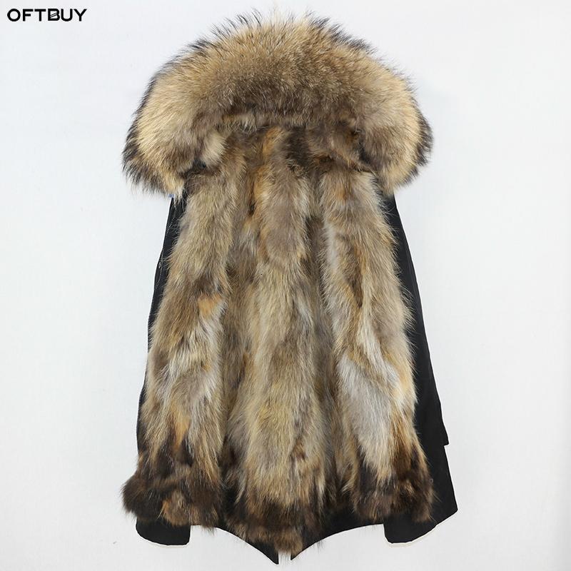 OFTBUY Su geçirmez Parka Gerçek Kürk Kış Ceket Kadınlar Doğal Rakun Kürk Yaka Fox Kürk Liner sıcak kalın streetwear outwearMX191009