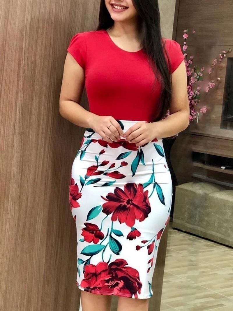 Casual abito firmato dai vestiti dei vestiti autunno europea delle donne e vestito natica corrispondenza dei colori fiore grande rosso americano + grande flo rosso