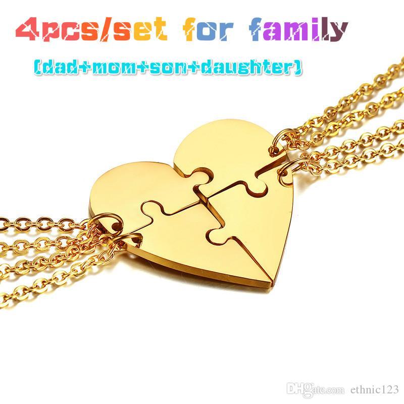 Argent Or Noir Couleur Mode Puzzle Collier avec pendentif coeur en acier inoxydable lien chaîne Collier Bijoux Cadeau pour J015 de la famille