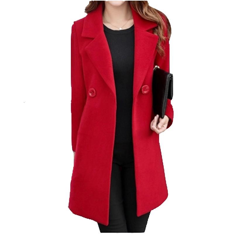 Winter Slim Large size Women Woolen Jacket 2019 New Casual Medium long Solid color Long sleeve Women Woolen Jacket S-4XL SES772 V191025