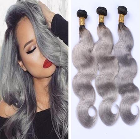 ombre d'argento i capelli grigi tessitura 1b grigio due toni estensioni dei capelli umani brasiliani grigi fasci di capelli