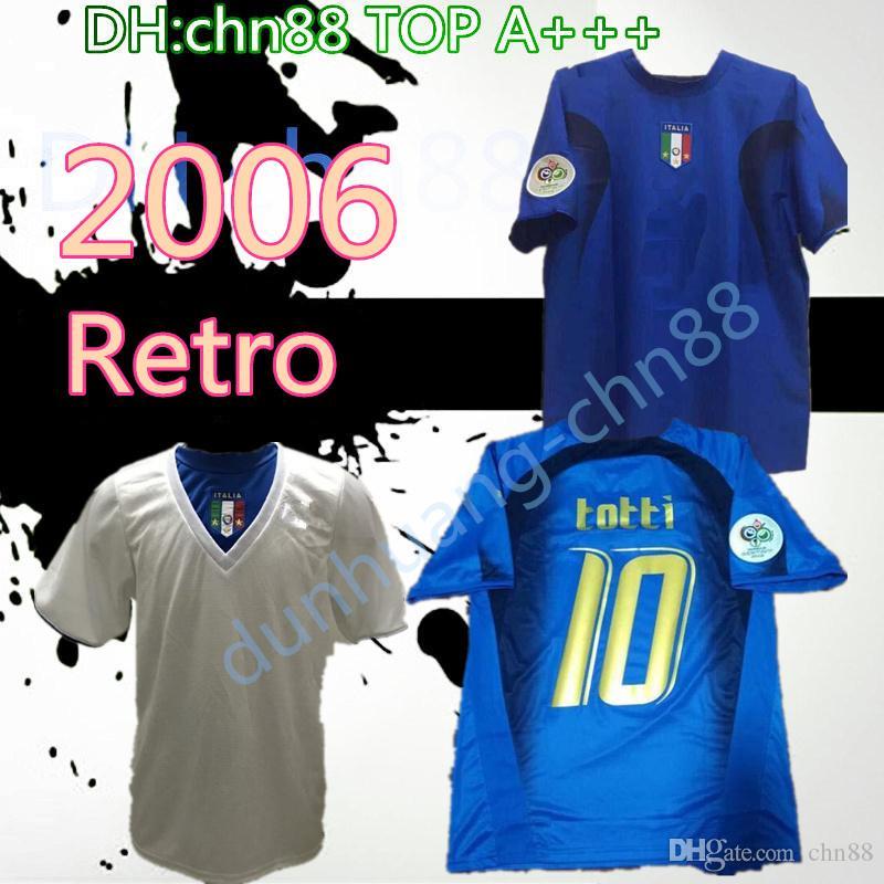2006 İtalya Gattuso Retro Futbol Jersey Cannavaro Francesco Totti del Piero Nesta Inzaghi Pirlo Materazzi Toni 06 Italia Futbol Gömlek