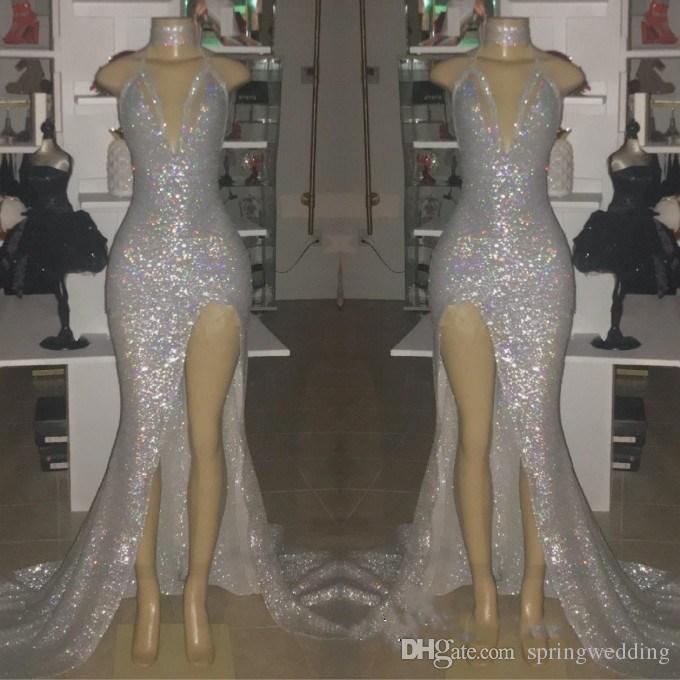 Imagen real de plata sexy con cuello en v sin mangas 2019 Vestidos de baile Halter Backless Mermaid Plus Size Vestidos de noche con Split BC0633