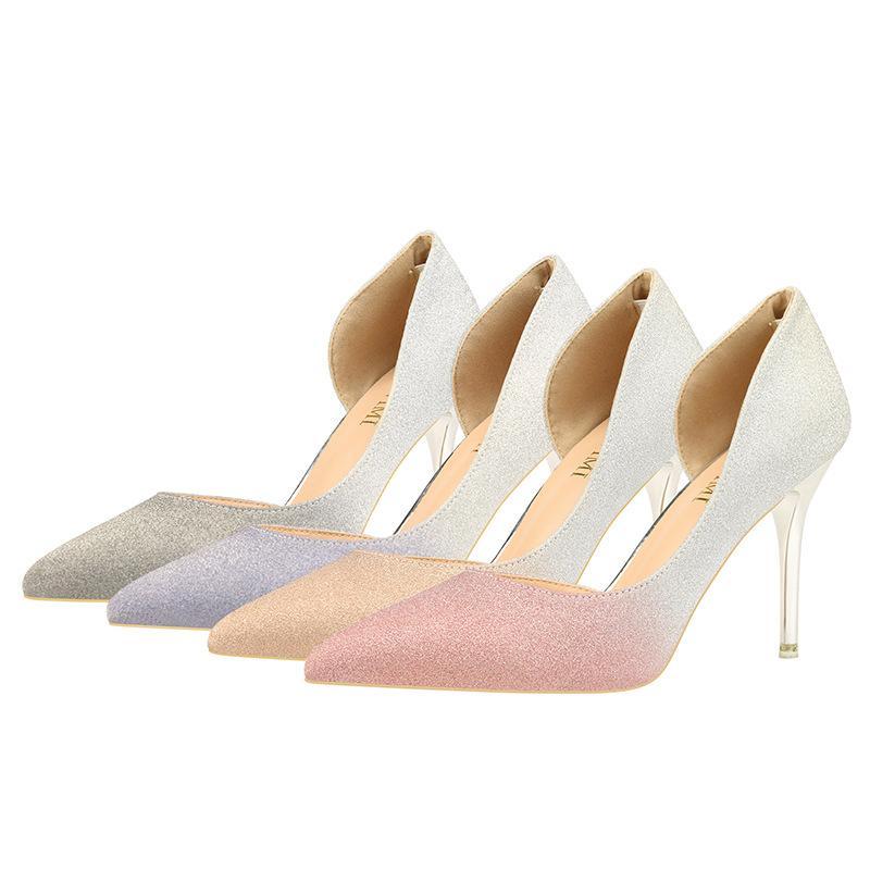 Vendita-signore delle donne scarpe stiletto collaterali Lear caldo scintillio tacchi alti slip-on punta del piede pompe scarpe da sera scarpe gradiente signora Euro zy271