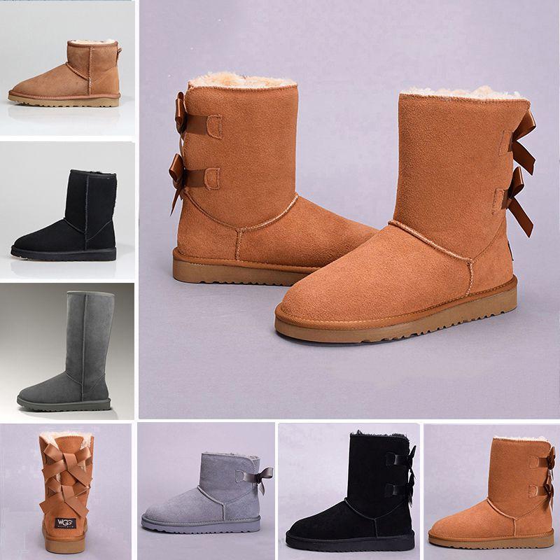 huge selection of 2a97e 35287 UGG Boots Winter WGG Frauen Australien Classic Knie halb Stiefel  Stiefeletten schwarz grau Kastanie navy blau rot Frauen Mädchen Stiefel  36-41