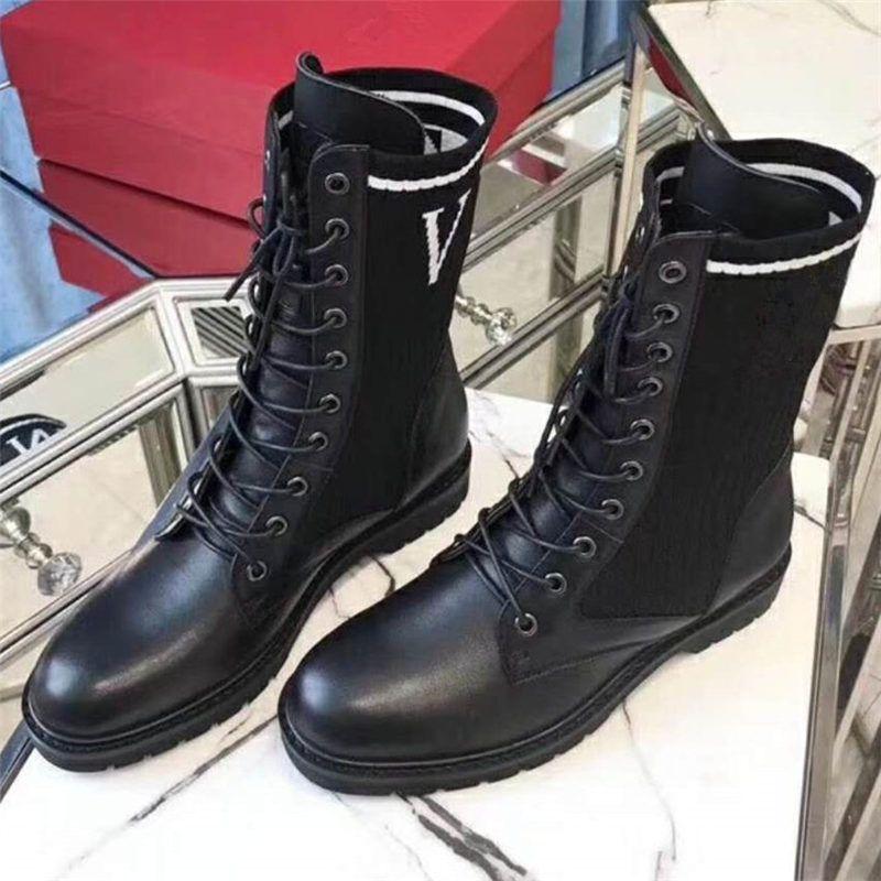 Con Mujer Y Tejido Cordones Compre Botines Cuero Negro Elástico q8OwExXt