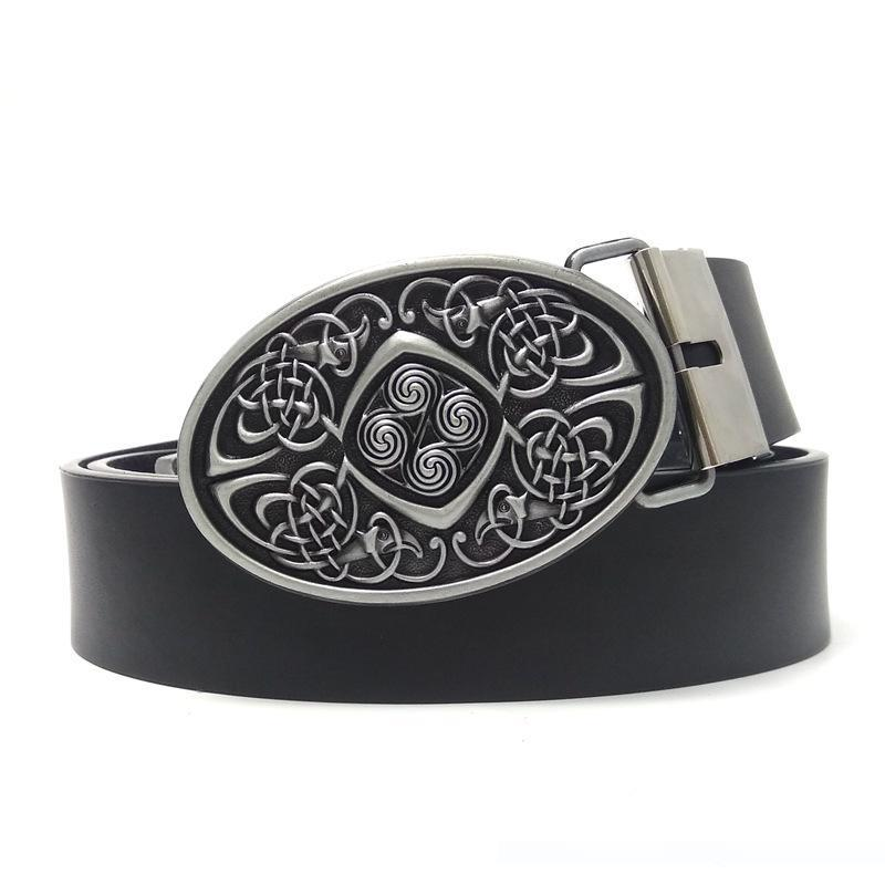 Celtic Pattern Belt Buckle Rectangle Metal Classic for Leather Belt Casual