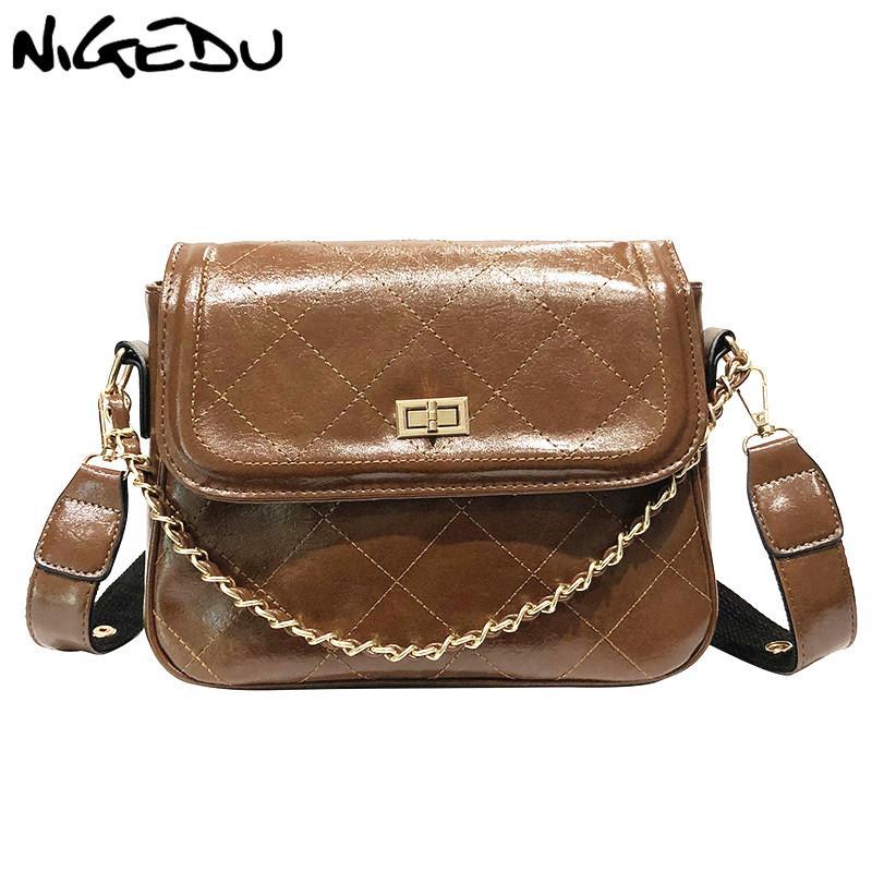 NIGEDU цепных женщины сумок Алмазной Lattice Женской посыльная сумка Пу кожа дама плеча Crossbody мешок большие тотализаторы