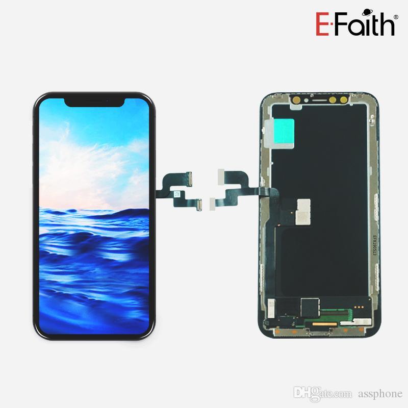 شاشة LCD EFaith الكمال اللون OLED الجودة للحصول على اي فون X / XS لا الميت بكسل استبدال العرض مع شحن مجاني